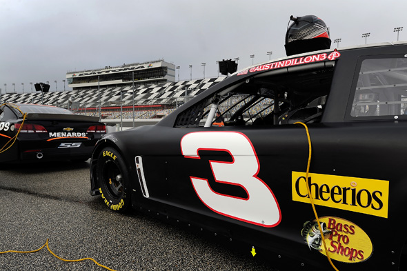 DAYTONA BEACH, FL - JANUARY 10:  The #3 Dow Chevrolet, driven by Austin Dillon (not pictured), sits in the garage area during NASCAR Preseason Thunder at Daytona International Speedway on January 10, 2014 in Daytona Beach, Florida.  (Photo by Jared C. Tilton/NASCAR via Getty Images)