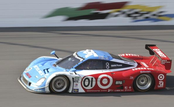 DAYTONA BEACH, FL - JANUARY 27:  The #01 Chip Ganassi with Felix Sabetes TELMEX/Target BMW Riley driven by Scott Pruett, Memo Rojas, Juan Pablo Montoya, Charlie Kimball and Scott Dixon drives during the Rolex 24 at Daytona International Speedway on January 27, 2013 in Daytona Beach, Florida.  (Photo by Jerry Markland/Getty Images)