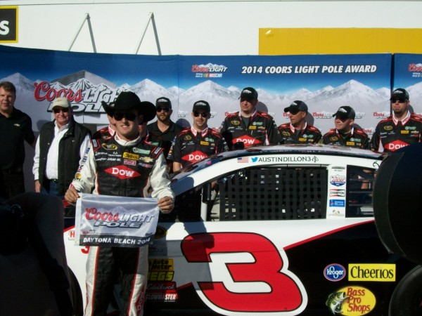 Austin Dillon celebrates his pole at Daytona Sunday. (Photo: Greg Engle)