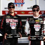 DAYTONA BEACH, FL - FEBRUARY 16:  Austin Dillon, driver of the #3 DOW Chevrolet, and Martin Truex Jr., driver of the #78 Furniture Row Chevrolet, celebrate in Victory Lane after qualifying for the NASCAR Sprint Cup Series Daytona 500 at Daytona International Speedway on February 16, 2014 in Daytona Beach, Florida. Austin Dillon qualified for pole position and Martin Truex Jr. qualified second.  (Photo by Tom Pennington/Getty Images)