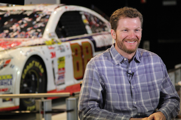 Dale Earnhardt Jr. began a week of media activities at Daytona International Speedway Monday. (DIS)