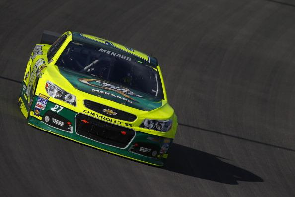 LAS VEGAS, NV - MARCH 09:  Paul Menard drives the #27 Quaker State/Menards Chevrolet during the NASCAR Sprint Cup Series Kobalt 400 at Las Vegas Motor Speedway on March 9, 2014 in Las Vegas, Nevada.  (Photo by Jonathan Ferrey/Getty Images)