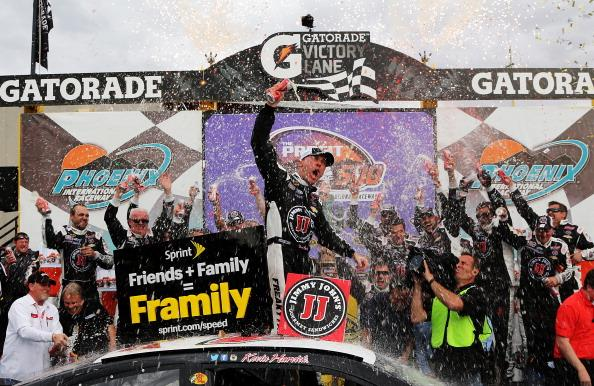 AVONDALE, AZ - MARCH 02:  Kevin Harvick, driver of the #4 Jimmy John's Chevrolet, celebrates in Victory Lane after winning the NASCAR Sprint Cup Series The Profit On CNBC 500 at Phoenix International Raceway on March 2, 2014 in Avondale, Arizona.  (Photo by Jerry Markland/Getty Images)