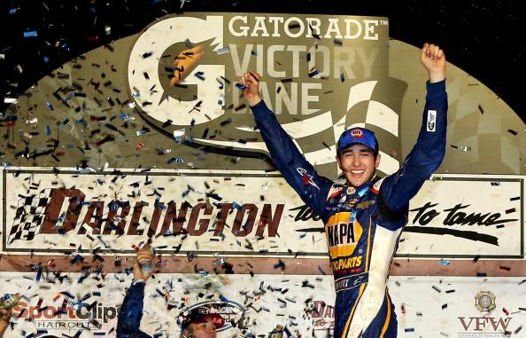DARLINGTON, SC - APRIL 11:  Chase Elliott, driver of the #9 NAPA Auto Parts Chevrolet, celebrates in Victory Lane after winning the NASCAR Nationwide Series VFW Sport Clips Help A Hero 200 at Darlington Raceway on April 11, 2014 in Darlington, South Carolina.  (Photo by Jerry Markland/Getty Images)