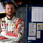 RICHMOND, VA - APRIL 25: Dale Earnhardt Jr., driver of the #88 National Guard Chevrolet, stands in the garage area during practice for the NASCAR Sprint Cup Series Toyota Owners 400 at Richmond International Raceway on April 25, 2014 in Richmond, Virginia.  (Photo by Todd Warshaw/Getty Images)