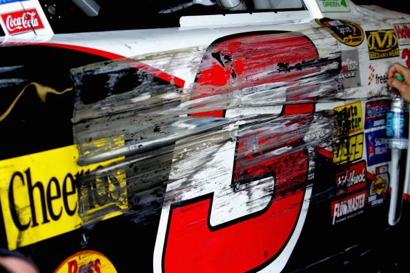 DARLINGTON, SC - APRIL 11:  Damage is seen to the #3 Dow Chevrolet, driven by Austin Dillon, after an incident on track during practice for the NASCAR Sprint Cup Series Bojangles' Southern 500 at Darlington Raceway on April 11, 2014 in Darlington, South Carolina.  (Photo by Jerry Markland/Getty Images)
