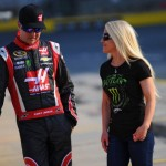 CHARLOTTE, NC - MAY 22 2014:  Kurt Busch, driver of the #41 Haas Automation Made in America Chevrolet, stands on the grid with his girlfriend, Patricia Driscoll, during qualifying for the NASCAR Sprint Cup Series Coca-Cola 600 at Charlotte Motor Speedway on May 22, 2014 in Charlotte, North Carolina.  (Photo by Will Schneekloth/Getty Images)
