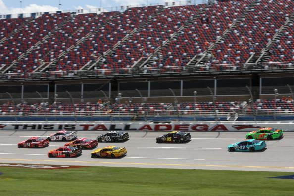 TALLADEGA, AL - MAY 02:  Cars are seen on track during practice for the NASCAR Sprint Cup Series Aaron's 499 at Talladega Superspeedway on May 2, 2014 in Talladega, Alabama.  (Photo by Jerry Markland/Getty Images)