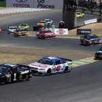 SONOMA, CA - JUNE 22:  Jamie McMurray, driver of the #1 Cessna Chevrolet, leads the field at the start of the NASCAR Sprint Cup Series Toyota/Save Mart 350 at Sonoma Raceway on June 22, 2014 in Sonoma, California.  (Photo by Brian Lawdermilk/Getty Images)
