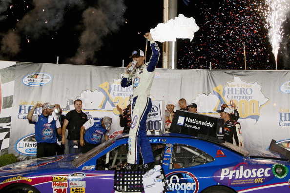 SPARTA, KY - JUNE 27:  Kevin Harvick, driver of the #5 Kroger/P&G Chevrolet, celebrates in Victory Lane after winning the NASCAR Nationwide Series John R. Elliott HERO Campaign 300 at Kentucky Speedway on June 27, 2014 in Sparta, Kentucky.  (Photo by Todd Warshaw/Getty Images)