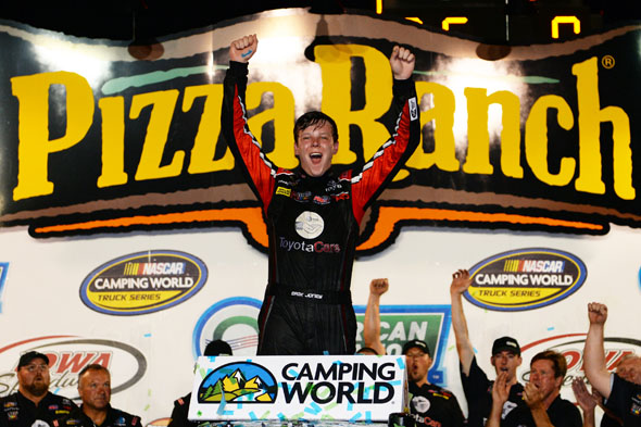 NEWTON, IOWA. - JULY 11: Erik Jones, driver of the #51 ToyotaCare Toyota, celebrates after winning at Iowa Speedway on July 11, 2014 in Newton, Iowa. (Photo by Robert Laberge/NASCAR via Getty Images)