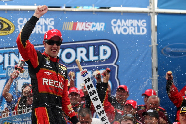 LOUDON, NH - JULY 13:  Brad Keselowski, driver of the #2 Redds Ford, celebrates in victory lane after winning the NASCAR Sprint Cup Series Camping World RV Sales 301 at New Hampshire Motor Speedway on July 13, 2014 in Loudon, New Hampshire.  (Photo by Nick Laham/Getty Images)
