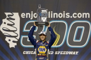 JOLIET, IL- JULY 19 2014 :  Chase Elliott, drive driver of the #9 NAPA Auto Parts Chevrolet,  celebrates in victory lane after winning during the NASCAR Nationwide Series EnjoyIllinios.com 300 at Chicagoland Speedway on July 19, 2014 in Joliet, Illinois.  (Photo by Jeff Zelevansky/Getty Images)