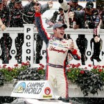 LONG POND, PA - AUGUST 02:  Austin Dillon, driver of the #3 Yuengling Light Lager Chevrolet, celebrates in Victory Lane after winning the NASCAR Camping World Truck Series Pocono Mountains 150 at Pocono Raceway on August 2, 2014 in Long Pond, Pennsylvania.  (Photo by Sarah Glenn/Getty Images)