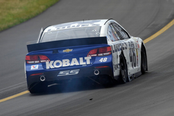 LONG POND, PA - AUGUST 03:  Jimmie Johnson, driver of the #48 Lowe's Chevrolet, races during the NASCAR Sprint Cup Series GoBowling.com 400 at Pocono Raceway on August 3, 2014 in Long Pond, Pennsylvania.  (Photo by Jared C. Tilton/Getty Images)
