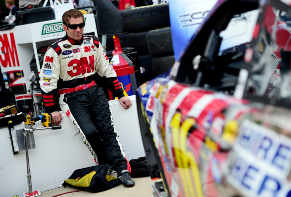 Greg Biffle in the garage area during practice for the NASCAR Sprint Cup Series Irwin Tools Night Race at Bristol Motor Speedway on August 22, 2014 in Bristol, Tennessee. (Getty Images)