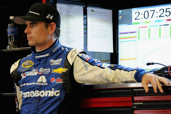Jeff Gordon stands in the garage during practice during practice for the NASCAR Sprint Cup Series Oral-B USA 500 at Atlanta Motor Speedway on August 30, 2014 in Hampton, Georgia. (Getty Images)