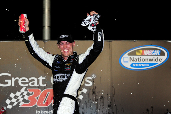 Kevin Harvick, driver of the #5 Bad Boy Buggies Chevrolet, celebrates in Victory Lane after winning the NASCAR Nationwide Series Great Clips 300 at Atlanta Motor Speedway on August 30, 2014 in Hampton, Georgia. (Photo by Jeff Curry/Getty Images)