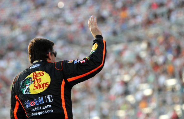 Tony Stewart is introduced at Atlanta Motor Speedway Sunday night. (Getty Images)