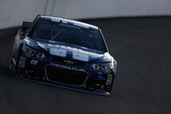 Jimmie Johnsonn on track during qualifying for the NASCAR Sprint Cup Series Federated Auto Parts 400 at Richmond International Raceway on September 5, 2014 in Richmond, Virginia. (Getty Images)
