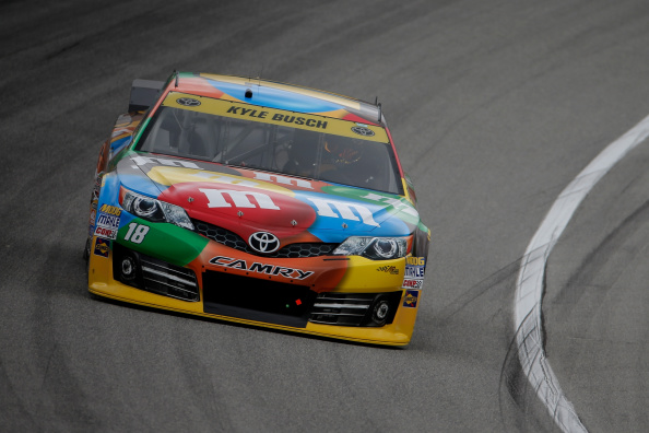 JOLIET, IL - SEPTEMBER 12:  Kyle Busch, driver of the #18 M&M's Toyota, practices for the NASCAR Sprint Cup Series MyAFibStory.com 400 at Chicagoland Speedway on September 12, 2014 in Joliet, Illinois.  (Photo by Jon Durr/Getty Images)