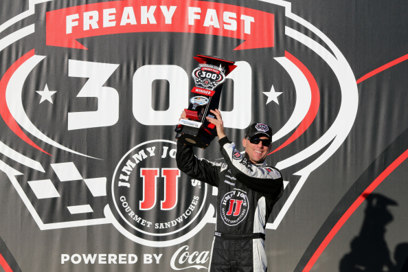 JOLIET, IL - SEPTEMBER 13: Kevin Harvick, driver of the #5 Jimmy John's Chevrolet, poses in victory lane after winning the NASCAR Nationwide Series Jimmy John's Freaky Fast 300 at Chicagoland Speedway on September 13, 2014 in Joliet, Illinois.  (Photo by Jerry Markland/Getty Images)