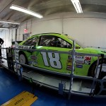 CHARLOTTE, NC - OCTOBER 10 2014:  The #18 Doublemint Toyota, driven by Kyle Busch, goes through technical inspection during practice for the NASCAR Sprint Cup Series Bank of America 500 at Charlotte Motor Speedway on October 10, 2014 in Charlotte, North Carolina.  (Photo by Jerry Markland/Getty Images)