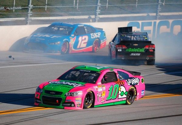 Dale Earnhardt Jr. spins late in the race Sunday at Talladega. (Getty Images)