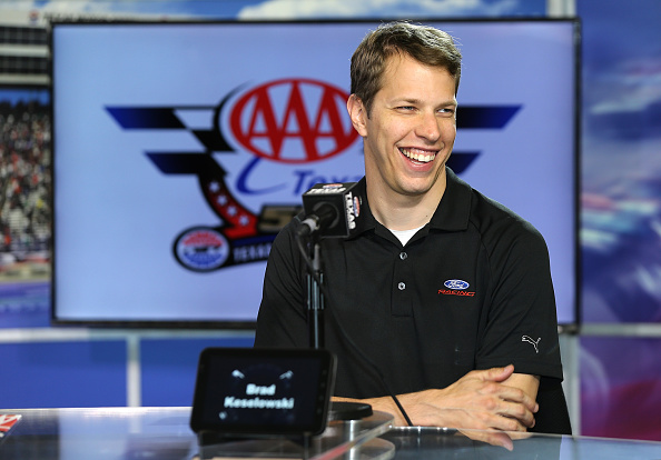 "FORT WORTH, TX - OCTOBER 20:  Brad Keselowski, driver of the #2 Ford, looks on during the Brad Keselowski's ""Who's Got Game?"" Video Game Fan Challenge at Texas Motor Speedway on October 20, 2014 in Fort Worth, Texas.  (Photo by Sarah Glenn/Getty Images for Texas Motor Speedway)"
