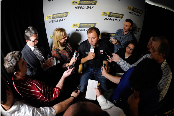CHARLOTTE, NC - OCTOBER 21:  Ryan Newman, driver of the #31 Caterpillar Chevrolet, speaks with the media during the NASCAR Eliminator Round Media Day at NASCAR Hall of Fame on October 21, 2014 in Charlotte, North Carolina.  (Photo by Jared C. Tilton/NASCAR via Getty Images)