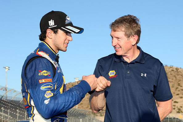 AVONDALE, AZ - NOVEMBER 08:  Chase Elliott, driver of the #9 NAPA Auto Parts Chevrolet, celebrates with his father Bill after winning the NASCAR Nationwide Series Championship following his fifth place finish in the DAV 200 at Phoenix International Raceway on November 8, 2014 in Avondale, Arizona.  (Photo by Todd Warshaw/Getty Images)