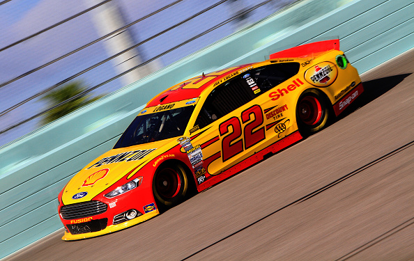 HOMESTEAD, FL - NOVEMBER 15: Joey Logano, driver of the #22 Shell-Pennzoil Ford, on track during practice for the NASCAR Sprint Cup Series Ford EcoBoost 400 at Homestead-Miami Speedway on November 15, 2014 in Homestead, Florida.  (Photo by Jerry Markland/Getty Images)