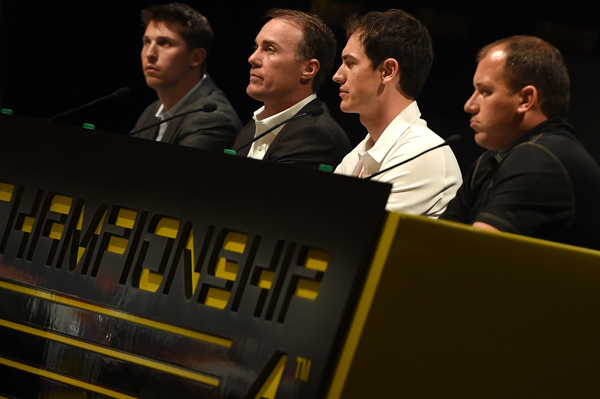 DORAL, FL - NOVEMBER 11: (From left to right) Denny Hamlin, driver of the #11 FedEx Express Toyota, Kevin Harvick, driver of the #4 Budweiser Chevrolet, Joey Logano, driver of the #22 Shell-Pennzoil Ford,  and Ryan Newman, driver of the #31 Caterpillar Chevrolet, answer questions from the media during the NASCAR Championship Press Conference at the Trump National Doral on November 12, 2014 in Doral, Florida. (Photo by Patrick Smith/NASCAR via Getty Images)