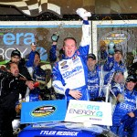 DAYTONA BEACH, FL - FEBRUARY 20:  Tyler Reddick, driver of the #19 DrawTite Ford, celebrates in victory lane after winning the NASCAR Camping World Truck Series NextEra Energy Resources 250 at Daytona International Speedway on February 20, 2015 in Daytona Beach, Florida.  (Photo by Robert Laberge/Getty Images)