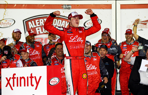 DAYTONA BEACH, FL - FEBRUARY 21:  Ryan Reed, driver of the #16 Lilly/American Diabetes Association Ford, celebrates in Victory Lane after winning the NASCAR XFINITY Series Alert Today Florida 300 at Daytona International Speedway on February 21, 2015 in Daytona Beach, Florida.  (Photo by Robert Laberge/Getty Images)