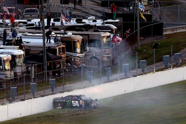 The car of Kyle Busch comes to rest after crashing Saturday night.