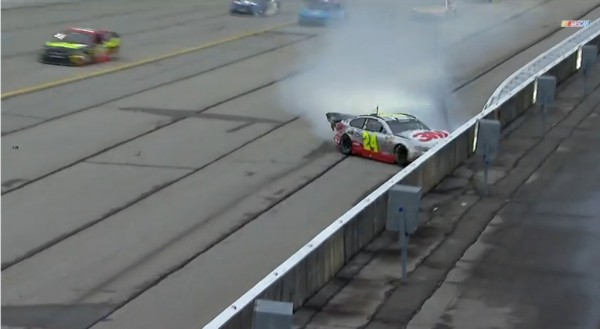 Jeff Gordon crashes at Atlanta Sunday. (NASCAR)