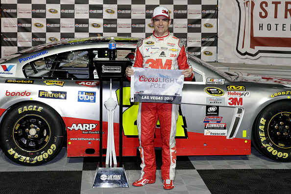 LAS VEGAS, NV - MARCH 06:  Jeff Gordon, driver of the #24 3M Chevrolet, celebrates after winning the Coors Light pole award for the NASCAR Sprint Cup Series Kobalt 400 at Las Vegas Motor Speedway on March 6, 2015 in Las Vegas, Nevada.  (Photo by Chris Trotman/Getty Images)