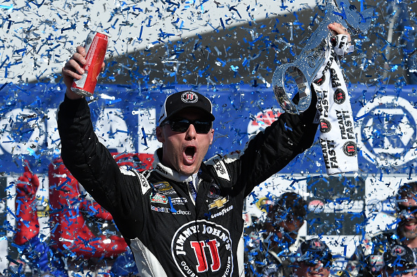 LAS VEGAS, NV - MARCH 08:  Kevin Harvick, driver of the #4 Jimmy John's/Budweiser Chevrolet, celebrates in Victory Lane after winning the NASCAR Sprint Cup Series Kobalt 400 at Las Vegas Motor Speedway on March 8, 2015 in Las Vegas, Nevada.  (Photo by Robert Laberge/Getty Images)