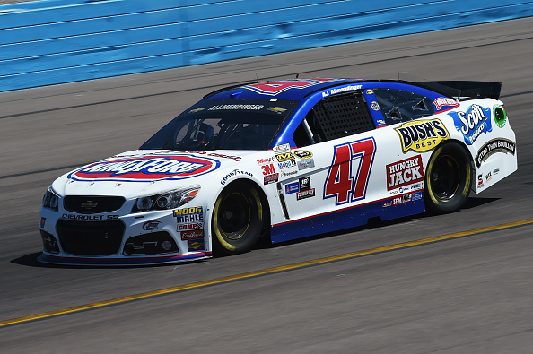 A J Allmendinger, driver of the #47 Kingsford Charcoal Chevrolet, drives during practice for the NASCAR Sprint Cup Series CampingWorld.com 500 at Phoenix International Raceway on March 13, 2015 in Avondale, Arizona. (Photo by Rainier Ehrhardt/Getty Images)