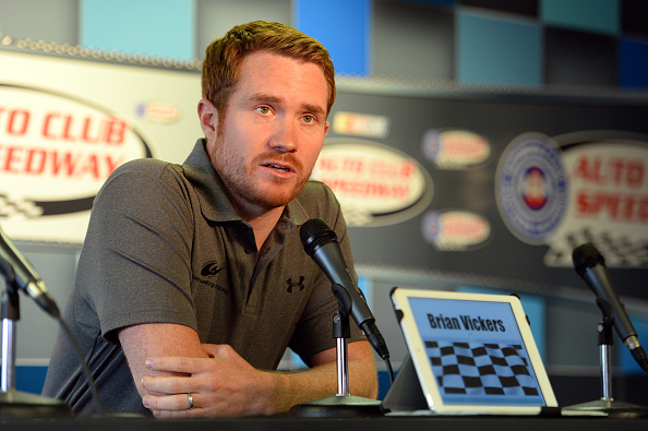 Brian Vickers met with the media Sunday morning at Auto Club Speedway. (Getty Images)