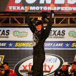 FORT WORTH, TX - APRIL 10:  Erik Jones, driver of the #20 GameStop/Mortal Kombat X Toyota, celebrates in victory lane after winning the NASCAR XFINITY Series O'Reilly Auto Parts 300 at Texas Motor Speedway on April 10, 2015 in Fort Worth, Texas.  (Photo by Jerry Markland/Getty Images for Texas Motor Speedway)