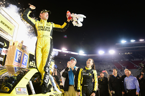 Matt Kenseth celebrates Sunday at Bristol  (Getty Images)