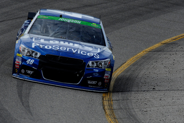 Jimmie Johnson, driver of the #48 Lowe's Pro Services Chevrolet, races during the NASCAR Sprint Cup Series Toyota Owners 400 at Richmond International Raceway on April 26, 2015 in Richmond, Virginia. (Photo by Jeff Curry/Getty Images)