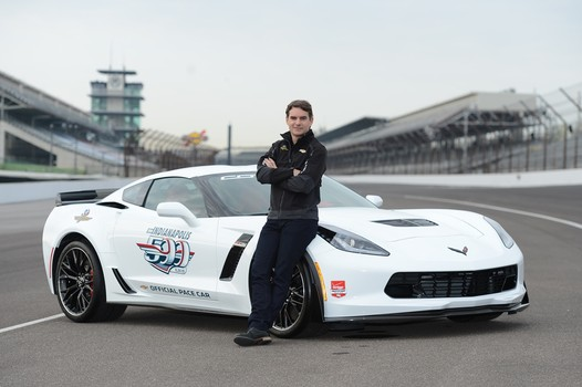 Jeff Gordon poses with the Indy 500 pace car and talks to the media at Indianapolis Motor Speedway in Indianapolis, Indiana Wednesday (IMS)