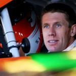 TALLADEGA, AL - MAY 01:  Carl Edwards, driver of the #19 ARRIS Toyota, sits in his car in the garage area during practice for the NASCAR Sprint Cup Series GEICO 500 at Talladega Superspeedway on May 1, 2015 in Talladega, Alabama.  (Photo by Maddie Meyer/Getty Images)
