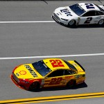 TALLADEGA, AL - MAY 01: Joey Logano, driver of the #22 Shell Pennzoil Ford, leads Brad Keselowski, driver of the #2 Miller Lite Ford, during practice for the NASCAR Sprint Cup Series GEICO 500 at Talladega Superspeedway on May 1, 2015 in Talladega, Alabama.  (Photo by Matt Sullivan/Getty Images)