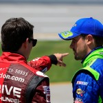 TALLADEGA, AL - MAY 02:  Jeff Gordon, driver of the #24 Drive To End Hunger Chevrolet, talks to Casey Mears, driver of the #13 GEICO Chevrolet, on the grid during qualifying for the NASCAR Sprint Cup Series GEICO 500 at Talladega Superspeedway on May 2, 2015 in Talladega, Alabama.  (Photo by Brian Lawdermilk/Getty Images)