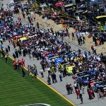 TALLADEGA, AL - MAY 03:  Cars sit on a crowded grid during pre-race ceremonies for the NASCAR Sprint Cup Series GEICO 500 at Talladega Superspeedway on May 3, 2015 in Talladega, Alabama.  (Photo by Jared C. Tilton/Getty Images)
