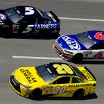 TALLADEGA, AL - MAY 03: Kasey Kahne, driver of the #5 Farmers Insurance Chevrolet, races Trevor Bayne, driver of the #6 AdvoCare Ford, and Matt Kenseth, driver of the #20 Dollar General Toyota, during the NASCAR Sprint Cup Series GEICO 500 at Talladega Superspeedway on May 3, 2015 in Talladega, Alabama.  (Photo by Brian Lawdermilk/Getty Images)